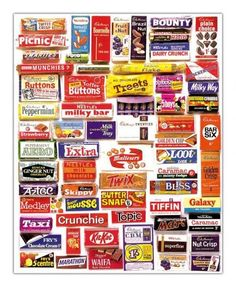chocolate bars print · Retro Images · Online Store Powered by Storenvy Old Sweets, Retro Sweets, Cadbury Chocolate Bars, Hot Chocolate, Squishies, Toffee Crisp, British Chocolate, Retro Images, Vintage Candy
