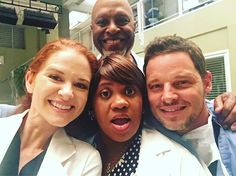 Instagram media by thesarahdrew - Back at it with these goofballs!! #GreysAnatomy #season14 @therealjamespickens @officialjustinchambers #chandrawilson