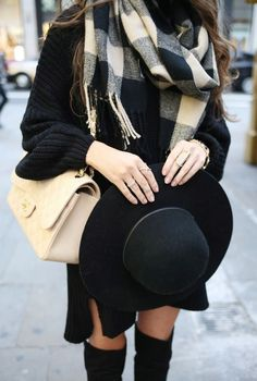 #winter #fashion / plaid scarf + knit dress