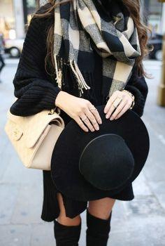 #winter #fashion / plaid scarf + knit dress