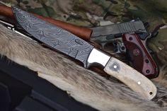 CFK USA Custom Handmade Damascus Camp Hunter Skinner Large Camel Bone Knife   eBay