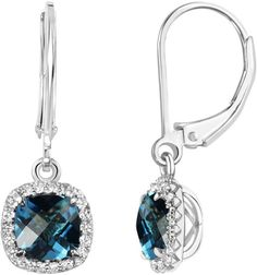 Fine Jewelry Genuine Blue Topaz & Lab-Created White Sapphire Sterling Silver Drop Earrings