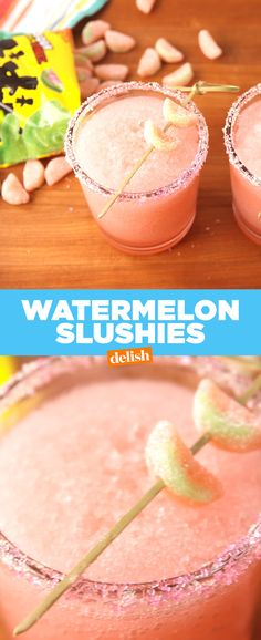 Sour Watermelon Slushies Sour Patch Watermelon fans, your favorite candy just got boozy. Get the recipe from .Sour Patch Watermelon fans, your favorite candy just got boozy. Get the recipe from . Candy Drinks, Kid Drinks, Frozen Drinks, Summer Drinks, Beverages, Beach Drinks, Summer Snacks, Sour Patch Watermelon, Watermelon Slushie