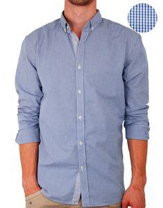 Chemise Selected bleue à petits carreaux One mood - vêtements homme, parka homme, manteau homme