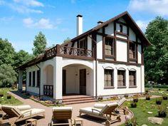 Коттеджи в разных стилях — Полезные советы, консультации специалистов. Alpine House, Antique House, Adobe House, Dream House Exterior, Wooden House, Prefab Homes, Traditional House, Old Houses, Exterior Design