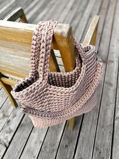 Crochet large summer bag Knitted pouch Rope crochet bag