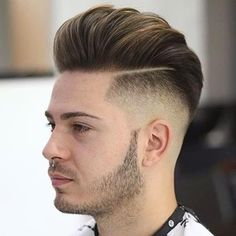 Layered Pompadour with Taper Fade - Pompadour Fade Haircut Cool Hairstyles For Boys, Trendy Mens Hairstyles, Undercut Hairstyles, Boy Hairstyles, Trending Hairstyles, Latest Hairstyles, Pompadour Fade Haircut, Tapered Haircut, Undercut Fade