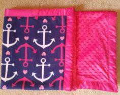 Adult Throw Blanket Navy Blue Anchor Fleece by HootieBooBoutique