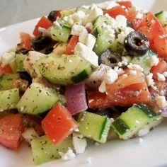 Chunky Greek Salad Recipe--add lemon juice, only do 1/2 amount of oil