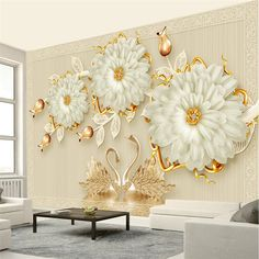 xbwy Jewelry Flowers Swan Mural Wallpaper Living Room Tv Sofa Home 3d Wallpaper Living Room, 3d Wallpaper For Walls, Wallpaper Decor, Living Room Tv, 3d Wall Decor, 3d Wall Murals, Metal Wall Decor, 3d Wanddekor, Bedroom False Ceiling Design