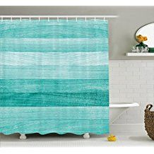 Ambesonne Teal Decor Collection, Painted Wood Texture Penal Horizontal Lines Birthdays Easter Holiday Print Backdrop, Polyester Fabric Bathroom Shower Curtain Set with Hooks, Turquoise