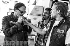 Charlie Hunnam, Katey Sagal, Kim Coates, Tommy Flanagan, and castmates hanging out and sharing favorite memories