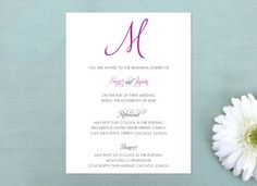 Initialed Rehearsal Dinner Invitations - Bridal or Wedding Shower Invites - FREE SHIPPING
