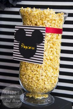Popcorn at a Mickey and Minnie Mouse birthday party! See more party ideas at CatchMyParty.com!