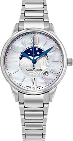 Alexander Monarch Vassilis Moon Phase Date White Mother of Pearl 35 MM  Large Face Watch For f3894dd7bdd