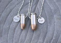 His and Hers Bullet Jewelry Necklaces Customized by BulletsAndWire, $45.00