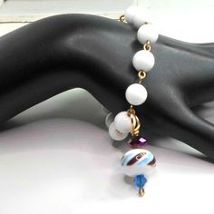 Bobs Flame Beads Lampwork bracelet white striped milk glass chain handmade 6 1/4 #Pat2 #beaded