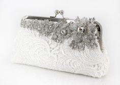 Ivory Bridal Lace Clutch with Rhinestone Lace Brooch Bridal Clutch, Wedding Clutch, Wedding Shoes, Wedding Bag, Wedding Dress, Vintage Purses, Vintage Bag, Bridal Lace, Rhinestone Wedding
