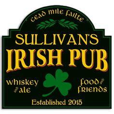 Personalized Irish Pub Metal Sign