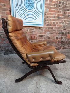 1970's Danish Ingmar Relling brown leather armchair (R8) #70s #norway #brownleather #patina #comfortable #vintage #retro #euvintage