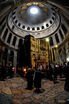 Pilgrims queueing to visit the tomb of Christ in the Church of the Holy Sepulchre, Jerusalem