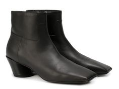 Balenciaga squared toe black leather ankle boots - Italian Boutique €498