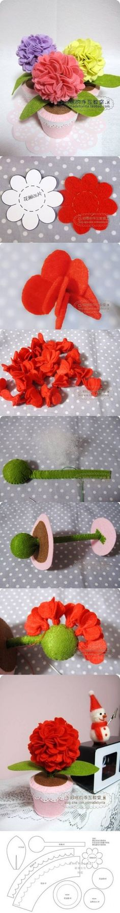 #Felt, #Fieltro Flores de fieltro DIY Felt Hydrangea Flower DIY Projects                                                                                                                                                                                 Más
