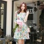 3/4-Sleeve Floral Print A-Line Dress