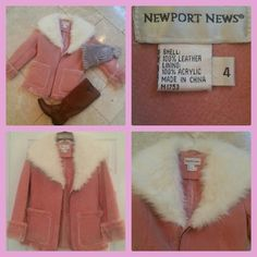 """NEWPORT NEWS SPIEGEL LEATHER ROSE FUR COAT NEWPORT NEWS from SPIEGEL ALL leather brand NEW coat. The collar is chunky and wide with thick wisps of fuzzy white fur. The coat is lined inside with short rose fur. The chunky cuffs are thick rise fur. Nice heavy weight, very soft, and warm.   TOO cute for words! NWT   WIDTH 16"""" LENGTH 25""""  All of my items come from extremely clean non-smoking non-pet home Newport News Jackets & Coats"""