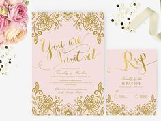 Invitations Word Template Simple It's A Girl Pink And Gold Baby Shower Invitation  Printable Wedding .