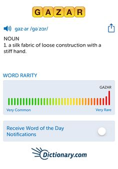 The best word I've seen today on Words with Friends is 'gazar'. Can you come up with a better one?