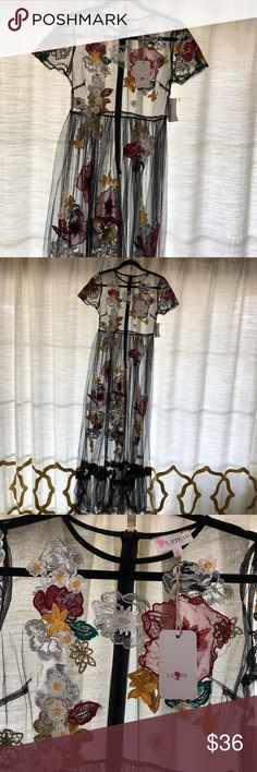L'ATISTE Sheer embroidered flowered maxi dress L'ATISTE Sheer embroidered flowered dress size medium. This dress is adorable and delicate. Over a Little Black spaghetti strap dress or a black bathing suit would be beautiful . Measurements are shown in photos Latiste Dresses Maxi