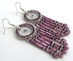 Beaded Dream Catcher Earrings, Authentic Native Made Hand Crafted, Purple, February - Free Shipping
