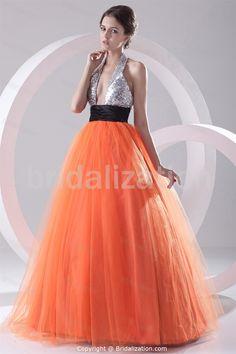 Floor-Length Satin Halter Apple Sleeveless Prom Gowns