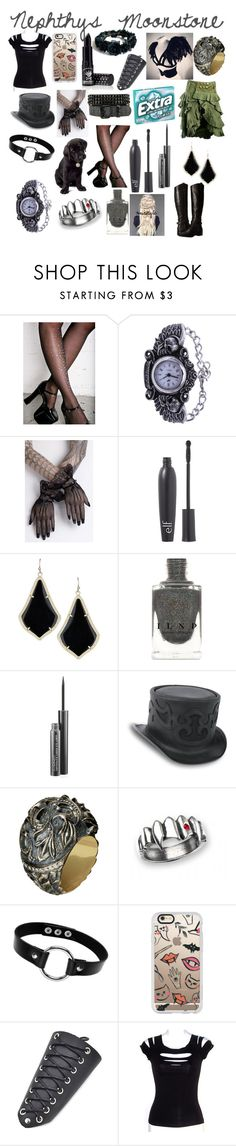 """Nepthys Moonstone"" by thepinkandpurplerainbow ❤ liked on Polyvore featuring Leg Avenue, Lab, e.l.f., Kendra Scott, MAC Cosmetics, Queensbee, Folio, Casetify, Manic Panic NYC and Dolce Vita"