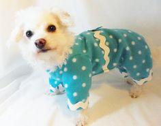 NEW RockinDogs Turquoise and White Polka Dot Fleece Dog Pajamas available on Etsy, $25.00