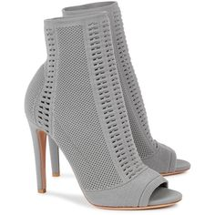 Hand-finished Gianvito Rossi grey stretch-knit ankle boots Heel measures approximately 4 inches/ Pointelle panelling, open toe Pull on Come with a dust bag Shoes Boots Ankle, Open Toe Boots, Shoes Heels Wedges, Grey Shoes, High Heel Boots, Bootie Boots, High Heels, Ankle Booties, Fancy Shoes