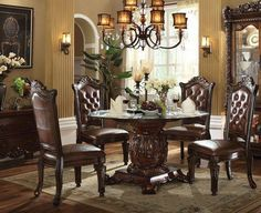 Formal Traditional Vendome Cherry 5 Pc Round Dining Room Set Glass Top