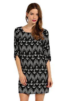 ANCHOR CHEVRON PRINT CHIFFON SHIFT DRESS- Black