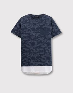 Pull&Bear - homme - t-shirts - t-shirt imprimé allover empiècement inférieur - bleu marine - 09237561-V2016