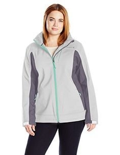 Free Country Womens Plus Size Softshell Cubic Dobby Active Body Ice GreyMineral Grey Spearmint Pop 2X * Want additional info? Click on the image.