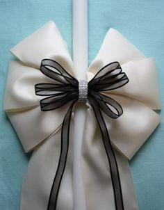 Ivory Satin Wedding Candle with Black Organza Bow