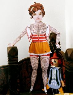 Miss Dame Suzette - victorian tattooed lady paper puppet FANTASTIC