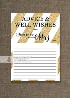 Gold Glitter Advice Card INSTANT DOWNLOAD 5x7 Soon to Be Mrs Bridal Shower Shabby Chic Advice Gold & Black Printable or Printed- Stella