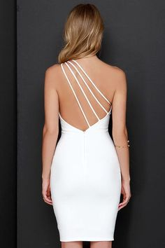 26c7d642ce Making Me Blush One Shoulder Ivory Dress at Lulus.com! One Shoulder White  Dress