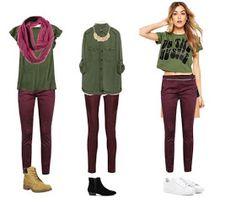 Hola . Chicas :) . Hoy compartiré con ustedes outfits sobre cómo combinar su ropa con un pantalón de color vino o Burgundy :). Bueno ... Burgundy Jeans Outfit, Maroon Pants Outfit, Jean Outfits, Fall Outfits, Casual Outfits, Cute Outfits, Outfit Pantalon Vino, Look Fashion, Fashion Outfits