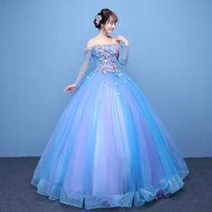 Cheap flower ball gown, Buy Quality romantic wedding dress directly from China wedding dress Suppliers: YIDINGZS Tulle Long Sleeve Romantic Wedding Dress Off The Shoulder Appliques Pearls Flowers Ball Gown Pretty Prom Dresses, Disney Princess Dresses, Princess Ball Gowns, Most Beautiful Dresses, Cute Dresses, Wedding Dresses, Ball Gowns Prom, Ball Dresses, Robes Quinceanera