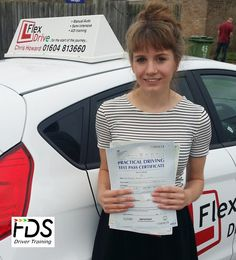Congratulations to Beth Wilson who passed her practical Driving Test today the 22nd September 2016, 1st time and with only 1 Driving Fault. Very well done and best wishes from your Driving Instructor Chris and all of us here at Flexdrive Driving School.  Beth had driving lessons in Wellingborough and Earls Barton with Flexdrive Driving School. #drivinglessons #learntodrive #wellingborough