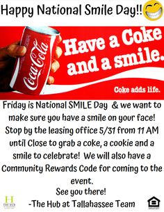 Celebrate National Smile Day with us! Stop by the office on Friday for some goodies that are sure to put a smile on your face. You'll also receive a Community Rewards Code for attending the event. It's a win-win! Tallahassee Apartments, Downtown Tallahassee, Tallahassee Community College, National Smile Day, The Hub, Leasing Office, Bedroom Floor Plans, Florida State University, Bedroom Flooring