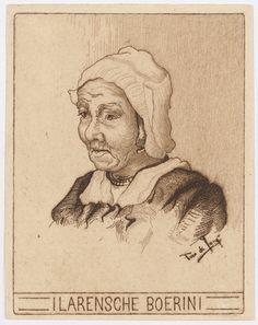 Larensche boerin Maker: kunstenaar: De Jong, Antonie Jacobprent 9 x 7 cm #Laren #Gooi #NoordHolland #vierkant
